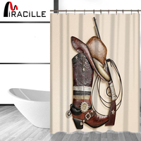 Miracille West Cowboy Shower Curtain Cowboy Boots Hat Print Bathroom Waterproof Curtain Shower Set With 12