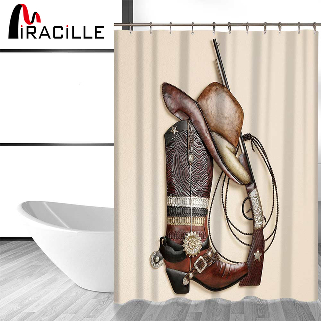 Miracille West Cowboy Shower Curtain Boots Hat Print Bathroom Waterproof Set With 12