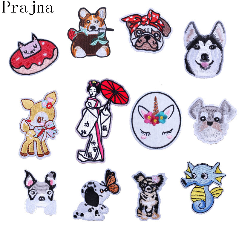 Prajna Service Husky Dog Patch Rabbit Horse Chihuahua Corgi Deer Ironing Patches Cartoon Embroidery Patches For Clothes Japanese