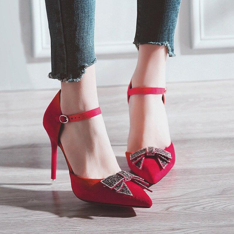 A Mujeres B B A Rojo Estrecha Señoras Black Delgados Oficina Tacones Boda Bombas Sexy Zapatos Moda De Elegante Punta Altos red Verano red Negro black Bowknot qAg4H