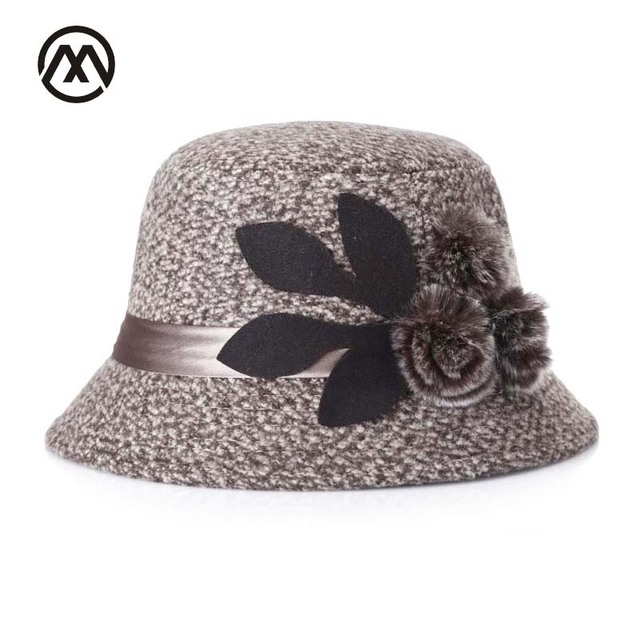 2367f165034c4 Noble Lady tophat Middle-aged Womens Felt Hat Decoration Flowers Vintage Hat  Mother Dome bucket