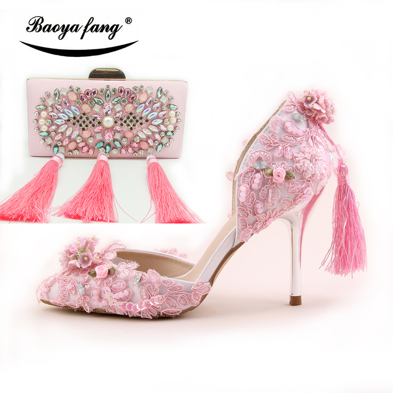 BaoYaFang New arrival Pink Wedding shoes with matching bags Woman fashion thin heel Party dress shoe and purse set 9cm heel new arrival spring and autumn red pearl wedding shoe up heel platform shoes woman party shoes luxury handmade shoes size 34 39