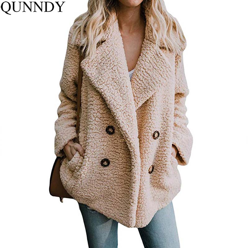 Qunndy Women Coat Winter Long Sleeve Oversized Loose Coats Bomber   Basic     Jacket   Pocket Buttons Outwear Fashion Women Clothes