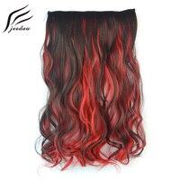Jeedou синтетические волосы для наращивания на заколках, 1 штука, на 5 клипсах, волнистые волосы, 20 дюймов, 50 см, 100 г, коричневый, голубой, зеленый,...