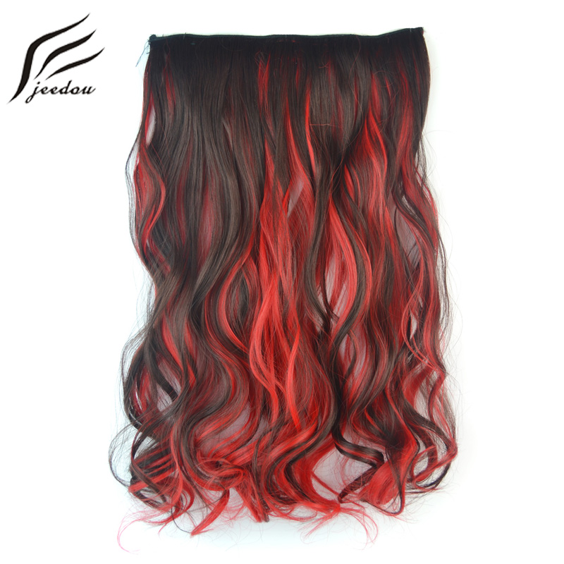 Jeedou Synthetic Clip In One Piece 5Clips Hair Extensions Wavy Hair 20