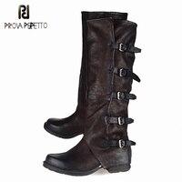 Prova Perfetto британский стиль сделать старый сапоги и ботинки для девочек высокое качество корова пояса из натуральной кожи Blet пряжка женские б