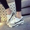 Primavera Otoño Las Mujeres de Corea Mujeres Trifle Zapatos de Plataforma Alta Zapatos de Aumento de la Altura Zapatillas Deportivas Entrenador