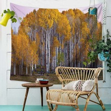 Yellow Leaves Tapestry Landscape Print Wall Hanging Boho Yoga Mat Wall Decoration Wall Cloth Bed Cover все цены