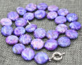 New 14mm coin  purple turquoise necklace 18 WW