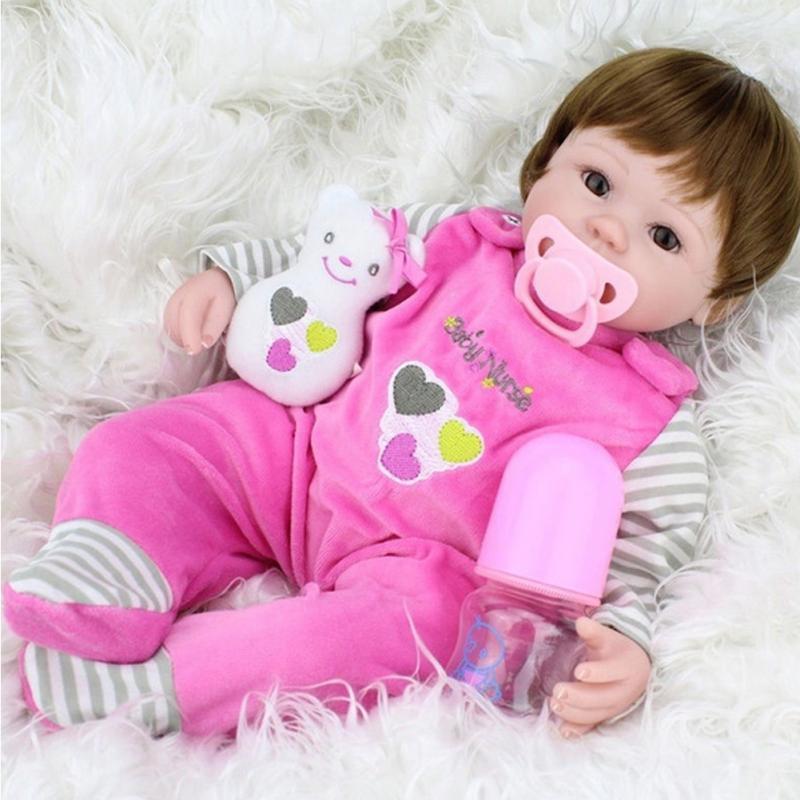 Reborn Baby Doll Realistic Soft silicone Reborn Babies Girl 18 Inch Adorable Bebe Kids Brinquedos boneca Toy 42cm