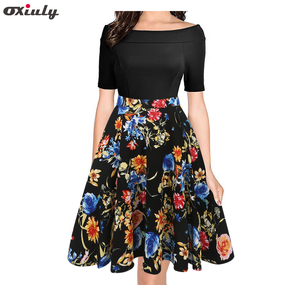 0e6b7d6391 Oxiuly Summer Dress 2018 Clothes Women Short Sleeve Multicolor Striped Floral  Print Off The Shoulder Patchwork