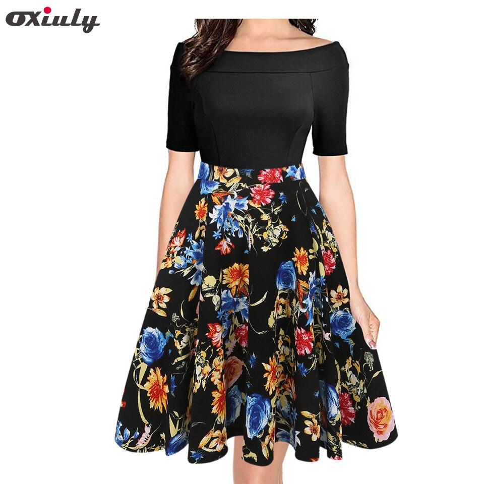 Oxiuly Yaz Elbise 2018 Elbise Kadın Kısa Kollu Renkli Çizgili - Bayan Giyimi - Fotoğraf 1