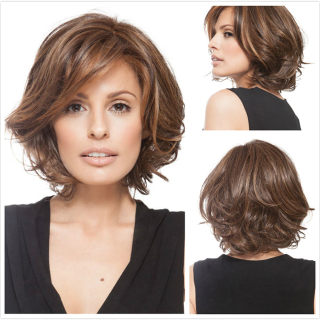 Fashion Curly Full Lace Wig For European and American Women Natural Wavy Loose Lady Wig Brown Hair Pieces