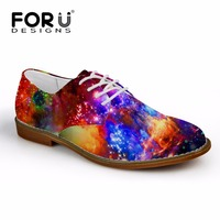 British Style Lace Up Flat Shoes Men Synthetic Leather Casual Oxford Flats Fashion Galaxy Star Print