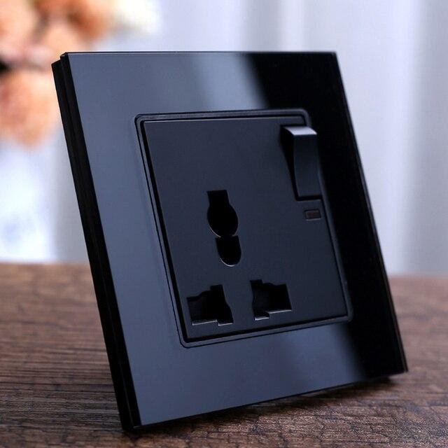 블랙 크리스탈 유리 패널 벽 전원 콘센트 플러그 영국 표준 소켓 1 갱 1way 푸시 버튼 스위치 3 핀 다기능 13a 소켓