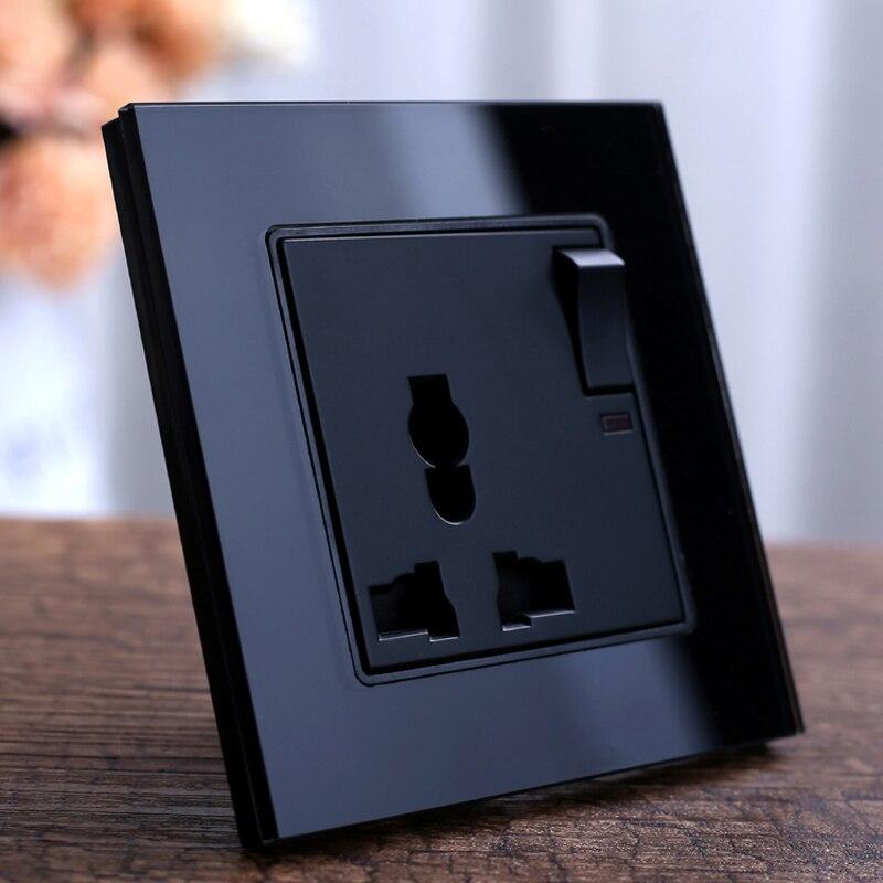 Panel de cristal negro pared enchufe UK Plug estándar Socket 1 Gang 1Way interruptor de botón 3 pines multifunción 13A Socket