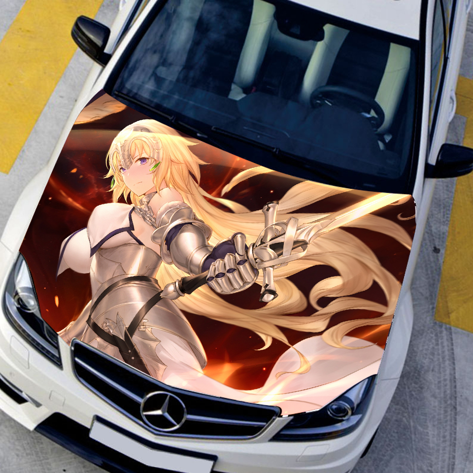 Us 54 46 custom sticker fate grand order ace joan of arc anime characters hood stickers engine cover decals paint film sticker on car in car