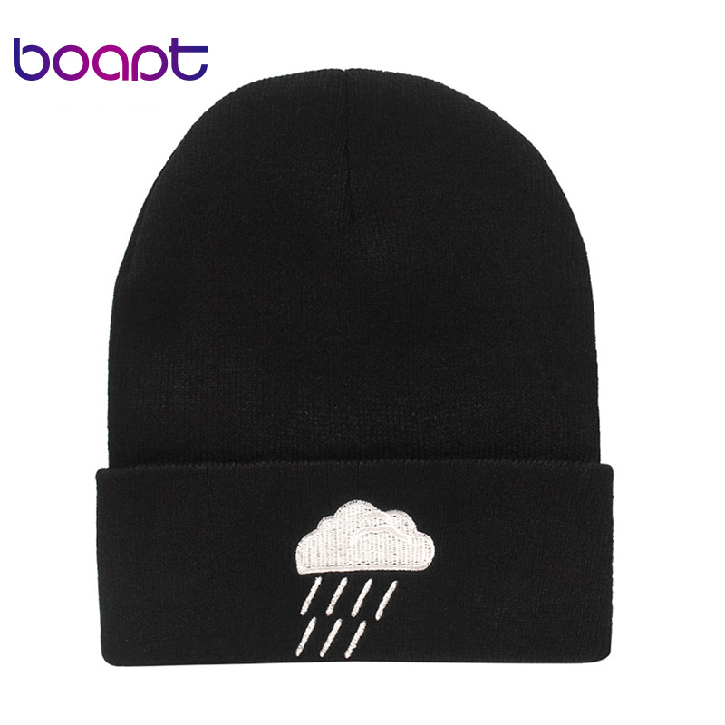 Unisex Embroidery Knitted Hats Women Men Weather Pattern Printed Winter Soft Warm Acrylic Cap Casual Hip-Hop   Skullies     Beanie   Hat