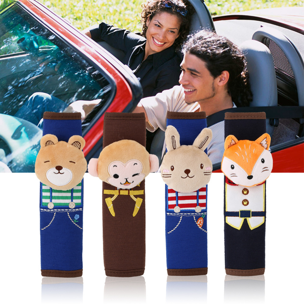 newest Cute Cartoon Style Children Safety Belt Plush Seat Harness Shoulder Pad Cushion Car Safety Seat Belt Protecting Cover