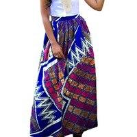 여성 아프리카 인쇄 스커트 캐주얼 높은 웨이스트 2017 여름 라인 맥시 긴 치마 포켓 레이디 Famle 의류