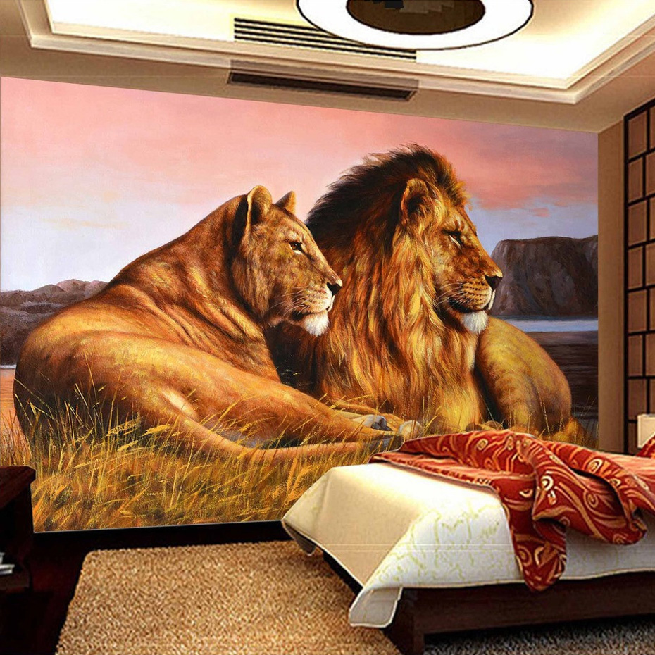 Custom Photo Wallpaper African Prairie Lion Living Room