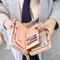 Sonho Brilhante Lady Estilo Portadores de Cartão Da Bolsa Da Carteira do Sexo Feminino Sólida Bolso celular Presentes Para As Mulheres 2 Duas Vezes O Dinheiro da Bolsa Retro embreagem