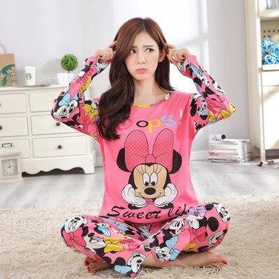 2018 new girl long sleeved pajamas Autumn women nightwear ladies sleepwear suit cartoon lovely suit student cute home clothes