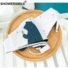 SHOWERSMILE Small Fashion Folding Umbrella Bear Print Mini Parapluie Portable Sun Parasol Ultra Light Blue White Ladies