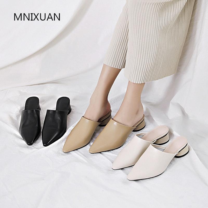 Ayakk.'ten Terlikler'de MNIXUAN El Yapımı rahat kadınlar katır ayakkabı 2019 bahar yeni hakiki deri retro kare ayak orta topuklu büyük artı boyutu 34  43'da  Grup 2