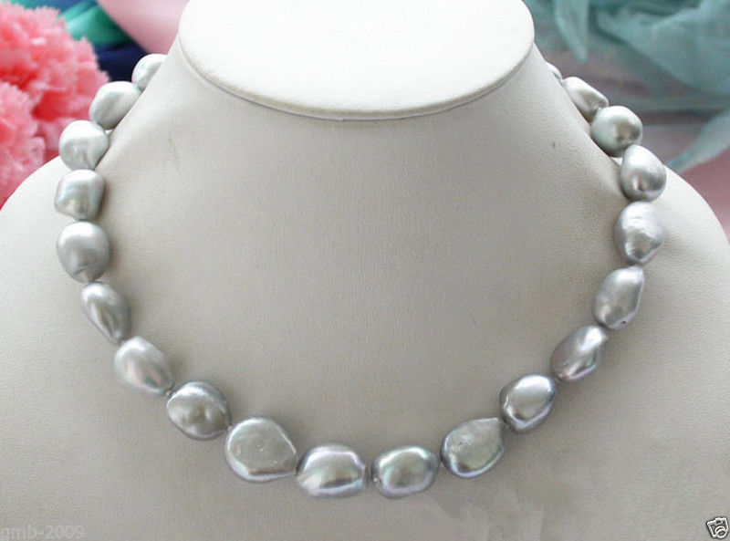 Genuine Natural 9-10mm Silver Gray Baroque Freshwater Pearl Necklace 18