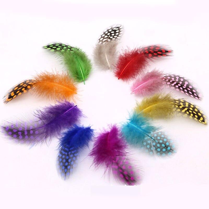 50pcs Multicolor Pearl Chicken Guinea Hen Feathers DIY Decorations S/&K