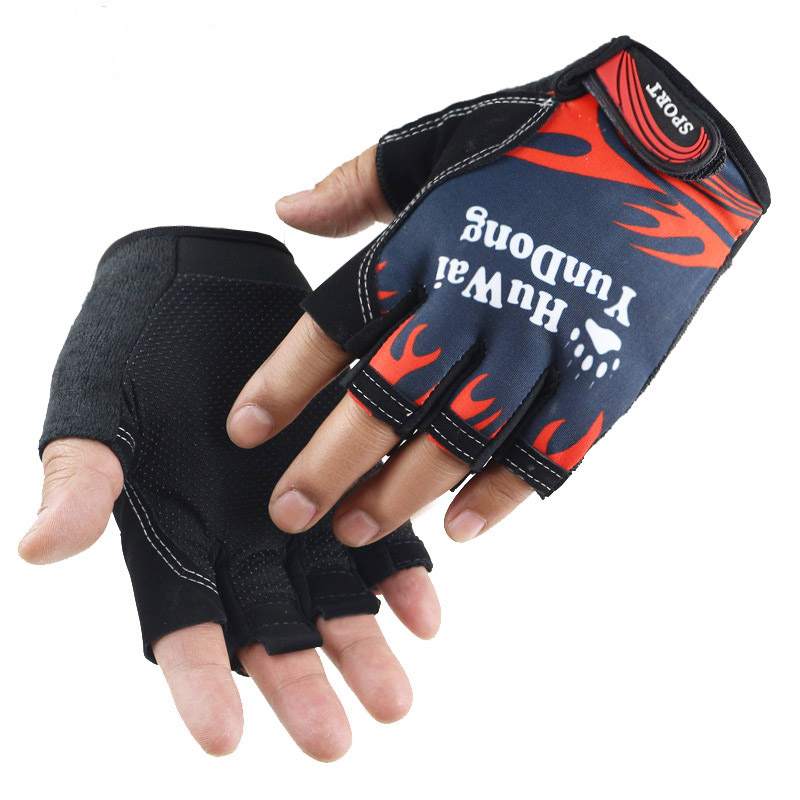 Men and women fashion printing outdoor sports fishing mountaineering half finger gloves bicycle non-slip fitness yoga gloves B60