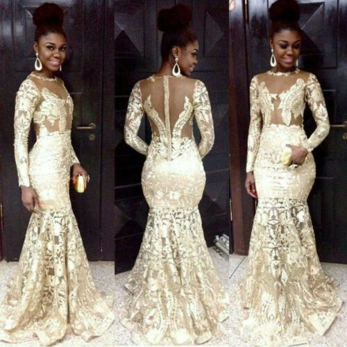 47-1     Lace Mermaid African Prom Dresses Long Sleeve Formal Evening Cocktail Party Gown