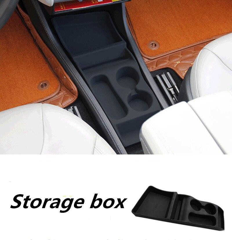 Boîte de rangement en Silicone Console conteneur Center Insert boîte tasse porte-lunettes pour Tesla modèle S 2012-2017