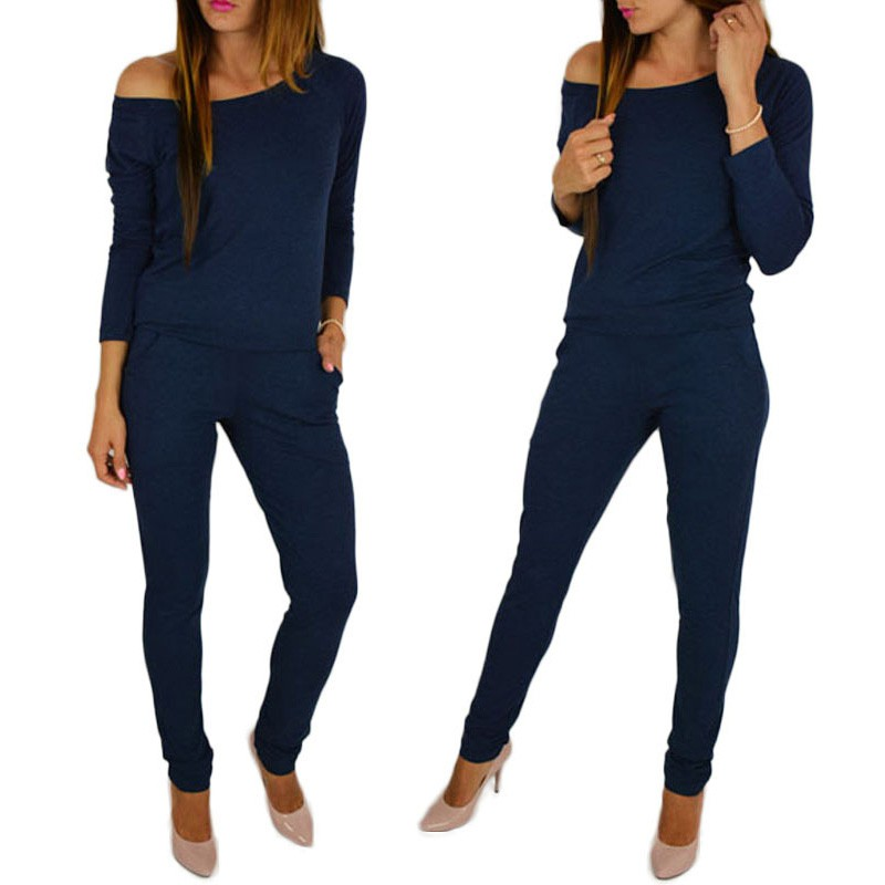 Women cotton long sleeve off shoulder jumpsuit 2019 Casual Rompers overalls for female women mid waist jumpsuits women