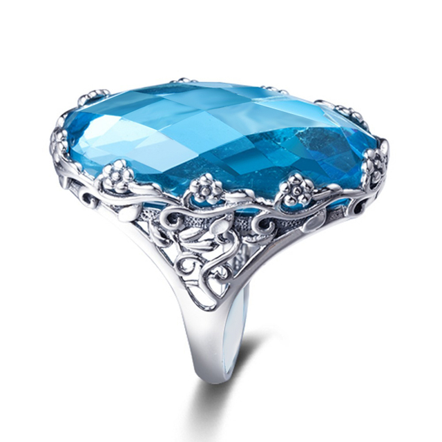Szjinao Wholesale Vintage Big Rings For Women 22ct Oval Aquamarien Flower Pattern Solid 925 Sterling Silver Wedding Jewelry