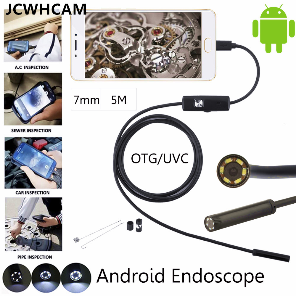 JCWHCAM Android Phone Inspection Camera  5M 7mm lens Endoscope inspection Pipe IP68 Waterproof 480P HD micro USB Snake Camer 7mm lens mini usb android endoscope camera waterproof snake tube 2m inspection micro usb borescope android phone endoskop camera