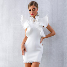 High quality summer women's white  2019 sexy sleeveless ruffled fringed black mini tight dress black sleeveless tight waist mini dress