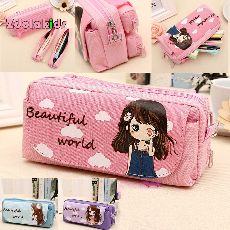 New Cute Beautiful World  Canvas Pencil Case Kawaii Girl School Supplies Pencil Bag Pen Bag Pouch Student Stationery little book of earrings