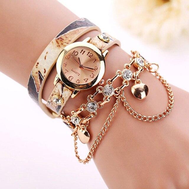 Woman Leather Rhinestone Rivet Chain Quartz Bracelet Wristwatch Watch Wrist Watc