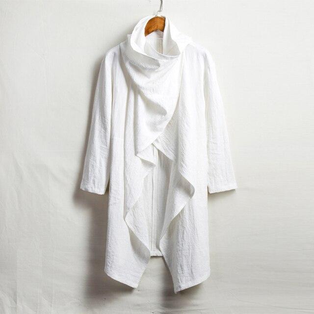 4XL Male Long Sleeve Cloak Trench Punk Outerwear Jacket Men Trench Coat Cotton Linen Long Cardigan Coat Y1025