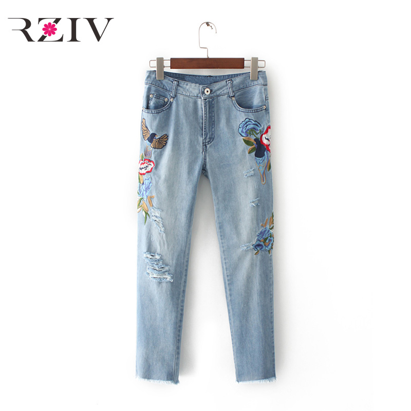 RZIV 2017 female font b jeans b font casual pure color flowers embroidered holes font b