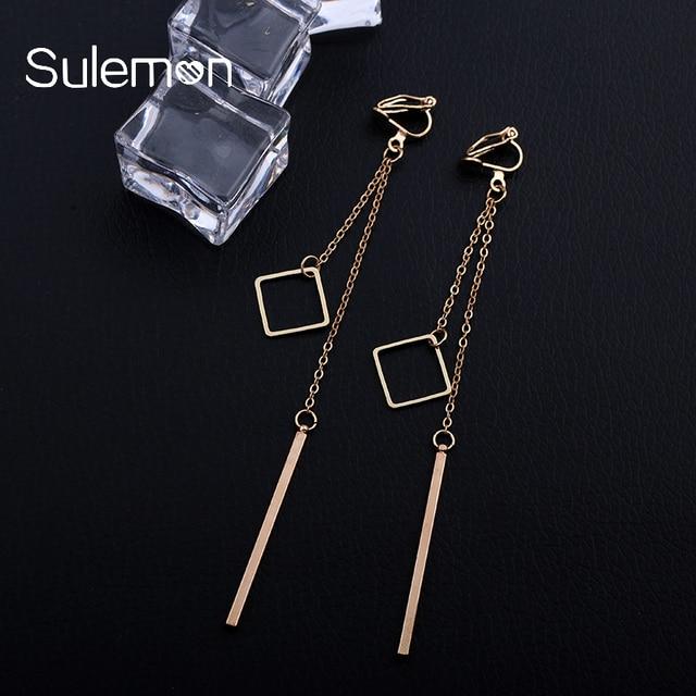 Metal Double Pendant Clip On Earrings Women Girl Fashion No Ear Hole Pending Long Earrings Simple Style Geometric Jewelry Ce38   by Sulemon