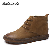 2017 Autumn Boots Women Genuine Leather flats oxford shoes For Women round toe handmade Designer Vintage Ankle Boots Super soft