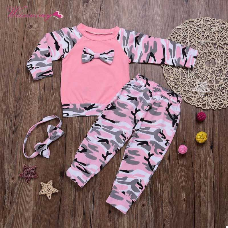 c806a7f09243 ... WEIXINBUY Newborn Baby Girls Clothes Set 3PCS Cute Bowknot T-shirt Tops+Camouflage  Pants