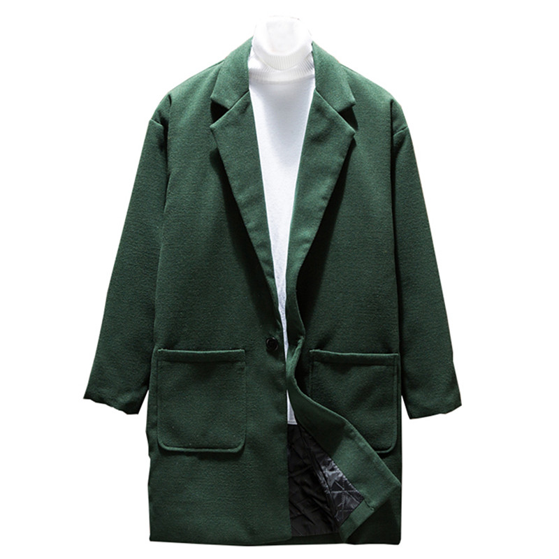 2018 Fashion New Men's Casual Long Woolen Blends Coat / Men's Solid Color Pocket Design Trench Jacket