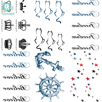 Rocooart HC126-150 Temporary Tattoo Stickers Imperial Crown Love Anchor Fake Tattoo Small Scars Cover Body Art Tattoo Stickers image