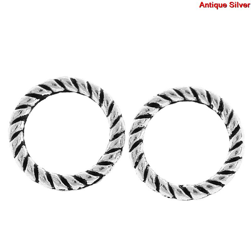 Zinc Metal Alloy Closed Soldered Jump Rings Round Antique Silver Stripe Pattern 8mm( 3/8