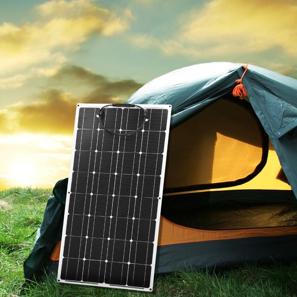 Dokio 12V 100W Monocrystalline Flexible Solar Panel Portable 100W Panel Solar For 16V Car/Boat/Home Panel Solar 200w China-in Solar Cells from Consumer Electronics