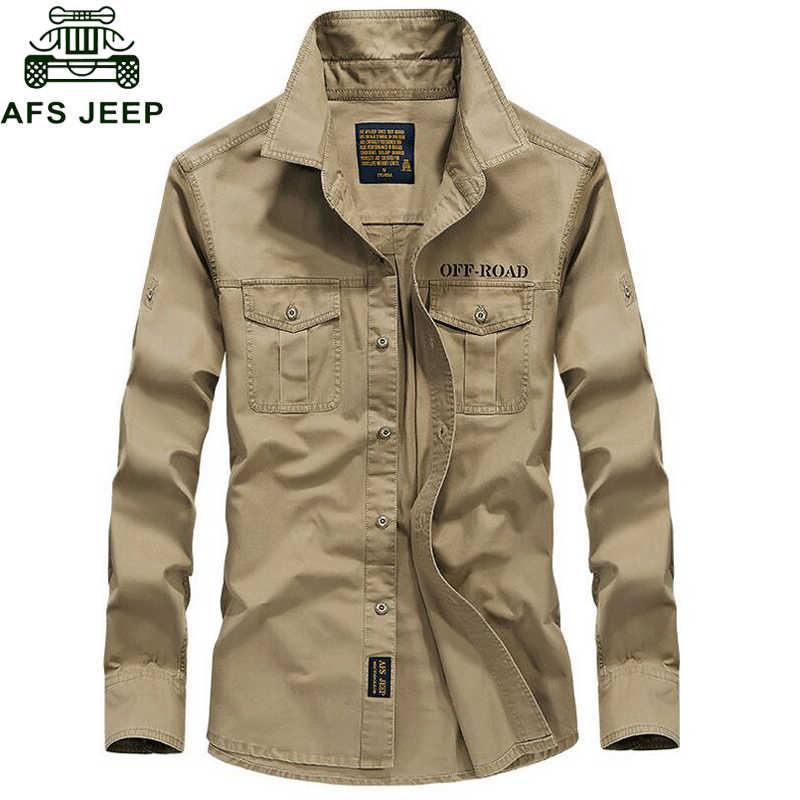 4b591a10e538b8b AFS джип бренд весна осень рубашка в стиле милитари для мужчин 100% хлопок  с длинным
